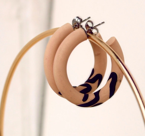 Nude Wave Hoop Earring