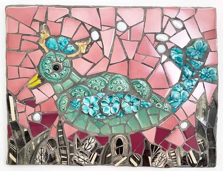 Aqua Bird Sketch in Mosaic