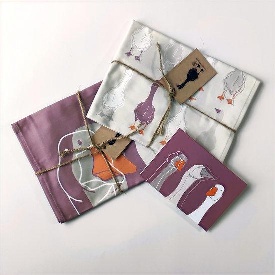 Goose Tea Towels and Card Bundle