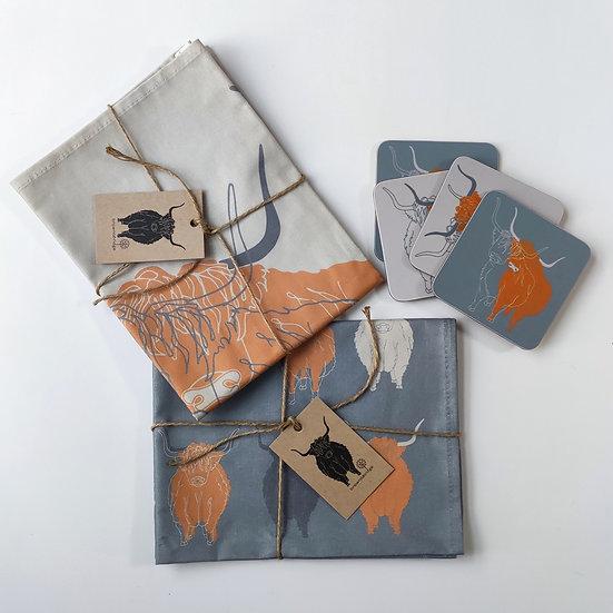 Highland Cow Tea Towels and Coasters Bundle