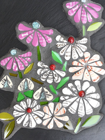Flowers with Text on Slate
