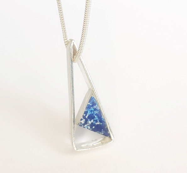Silver Triangle Pendant With Hidden Resin Triangle