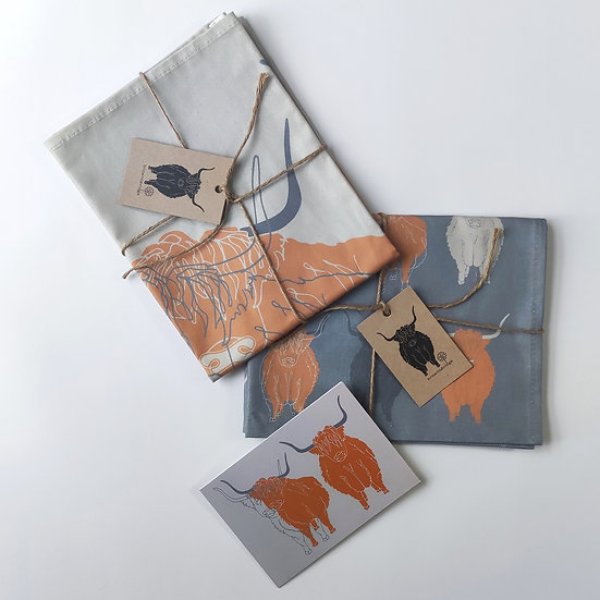 Highland Cow Tea Towels and Card Bundle