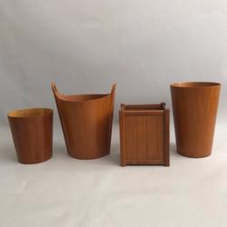Teak waste paper baskets