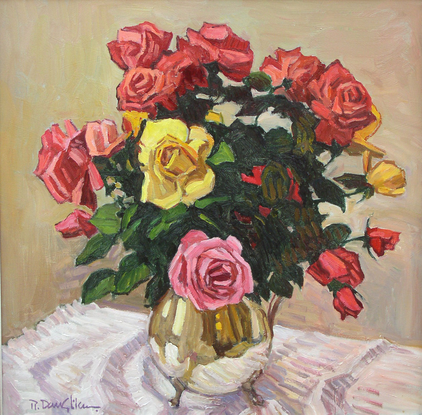 Roses in a Silver Pitcher