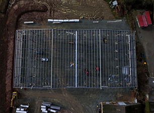 Drone aerial shot of construcion site