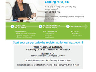Los Angeles Youth!! Get a Job! Work Readiness Certificate Interviews - Thursday, Feb. 9th