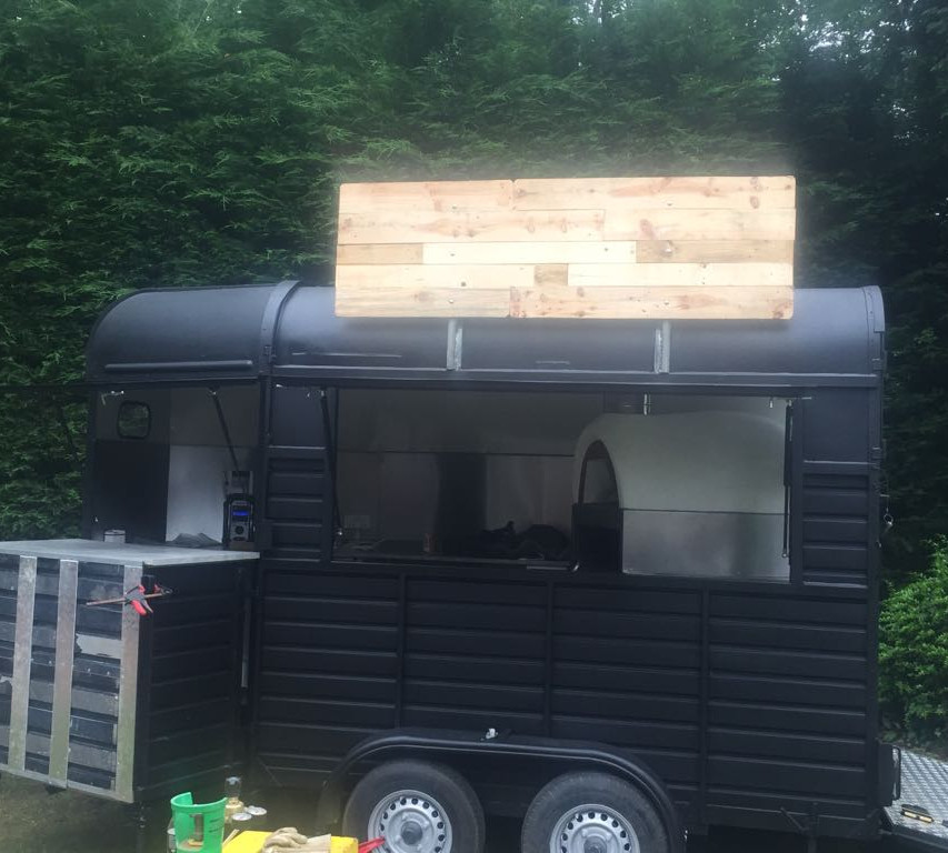 Horsebox catering unit with custom signs