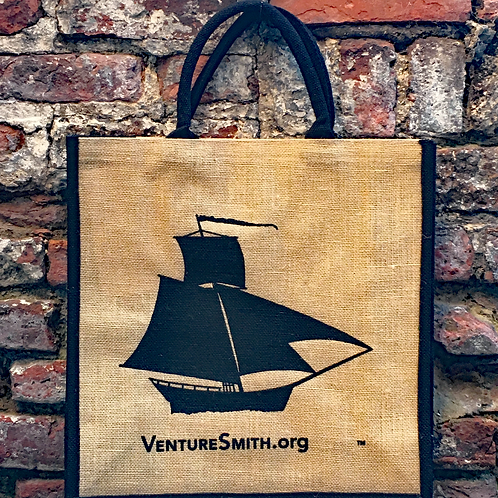 Trimmed Jute shopping bag with waterproof lining