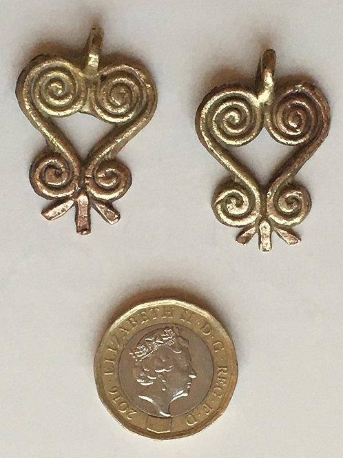 Pair of  Asante Sankofa Brass Symbols