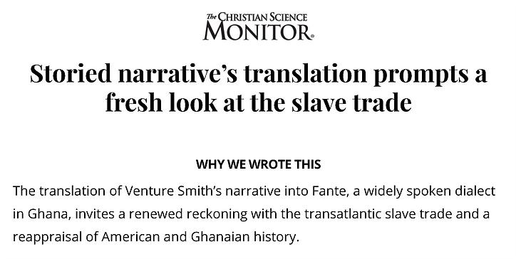Venture Smith slave narrative translatio