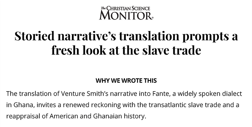 Venture Smith slave narrative translatio