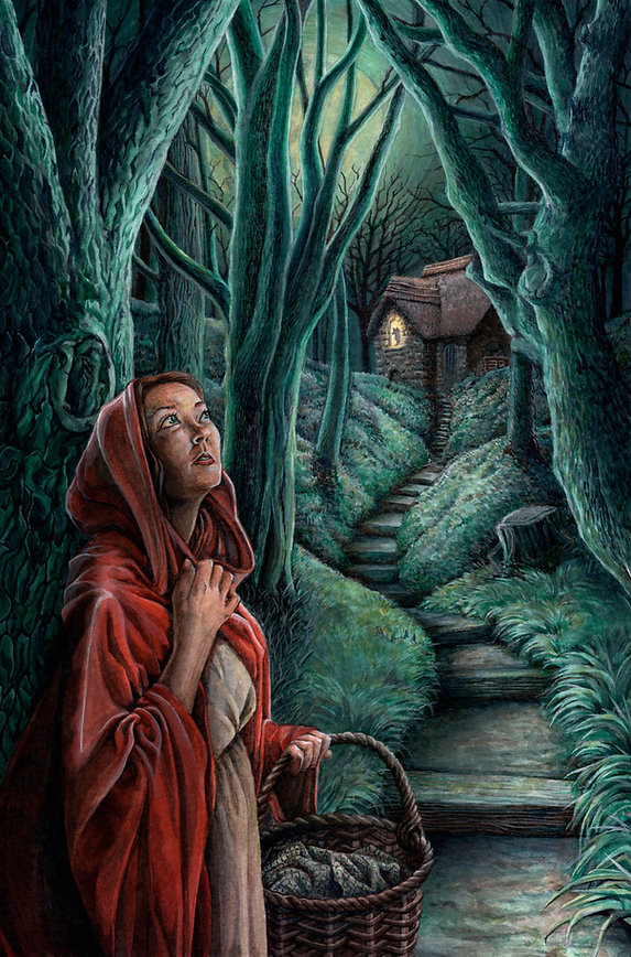 Red Riding Hood walking through spooky haunted forest at night, Grimm's fairytale