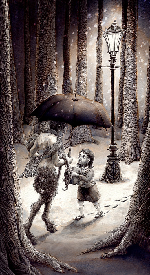 Lucy meets Mr Tumnus, From The Lion, The Witch and the Wardrobe, by C. S. Lewis. Illustration by Hannah Seakins