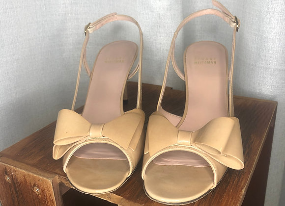 Stuart Weitzman Patent Leather Bow Sandal