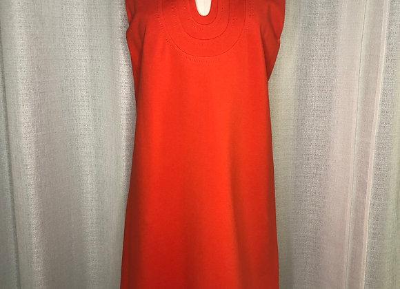 DVF Red Keyhole Dress, Size 10