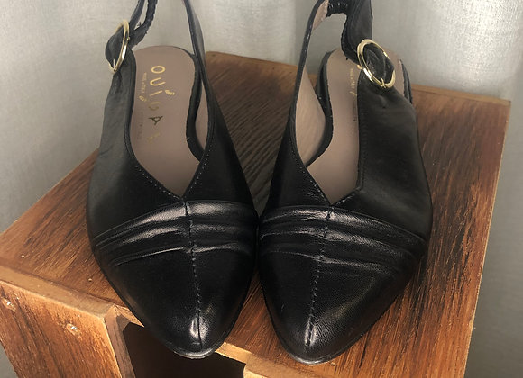Ouigal Black Leather Flat