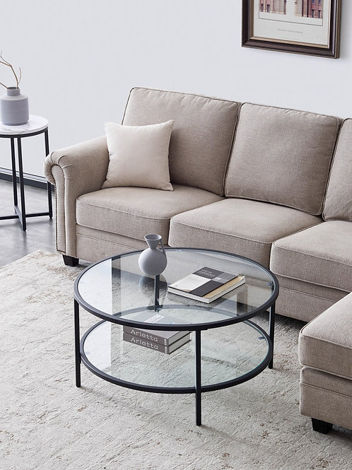 Modern Glass Coffee Table With Large Storage Space Living Room Sofa Side Table