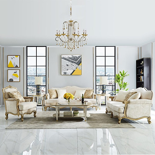 American Fabric Sofa 1+2+3 Sectional Sofa Light Luxury  Living Room Furniture