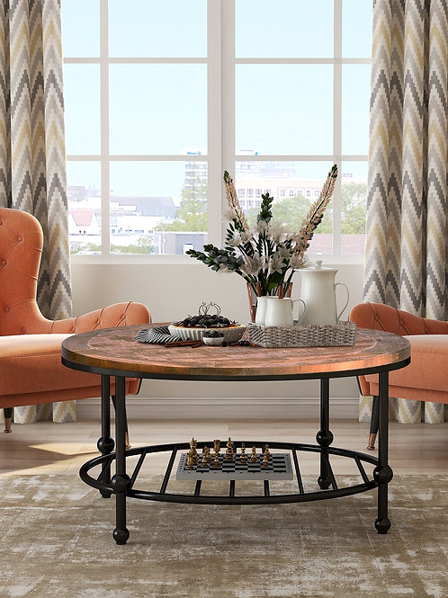 Round Loving Room Furnitures Natural Round Wooden Coffee Table Modern Classical