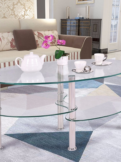 Goplus Tempered Glass Oval Side Coffee Table Chrome Base Living Room Clear Black