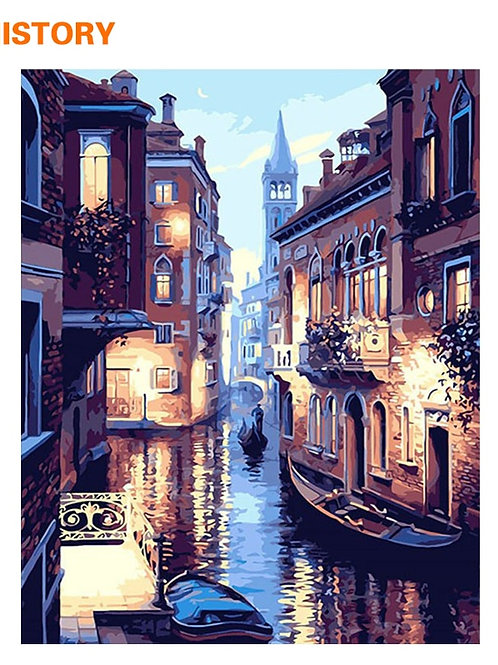 Frameless Venice Night Landscape DIY Digital Oil Painting by Numbers Europe