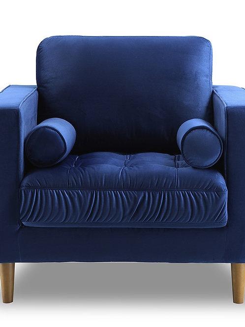 Bente Tufted Velvet Lounge Chair - Blue