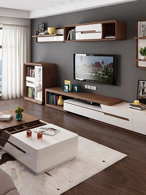 White Painted Coffe Table TV Cabinet Combination Fashion Wood Grain Stretchable