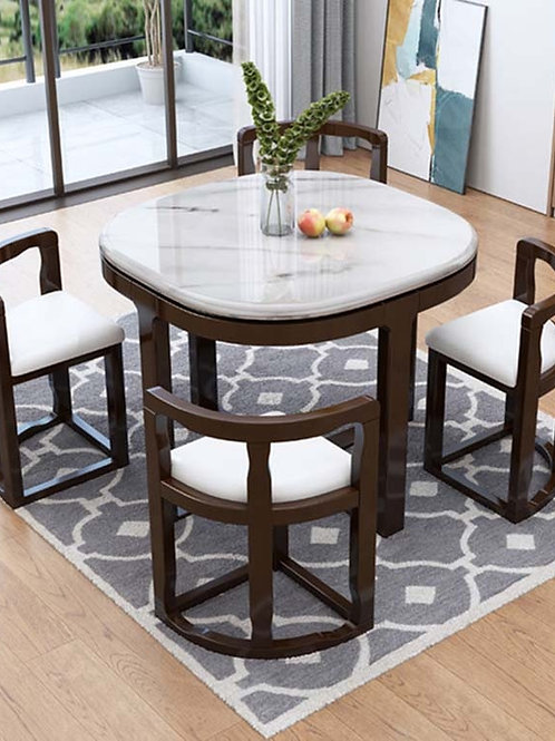 Marble Dining Table With 4 Chairs Set Combination Simple Modern Small Apartment