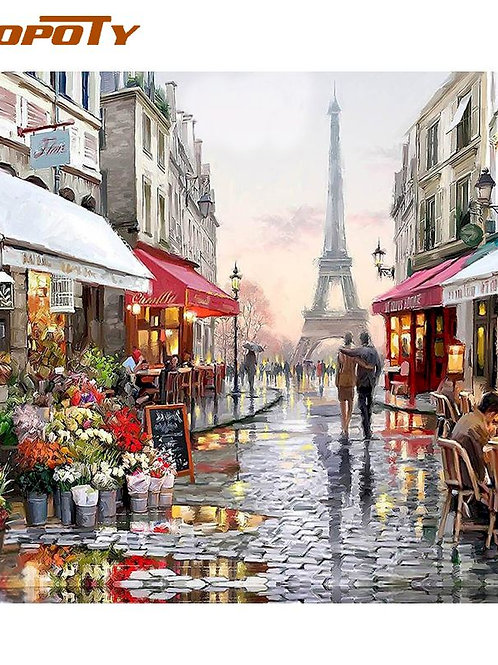 RUOPOTY Paris Street DIY Painting by Numbers Handpainted CanvasUnique Gift 40X50