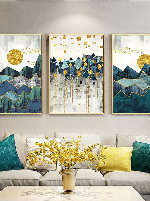 Nordic Abstract Geometric Mountain Landscape Wall Art Canvas Painting Golden Sun