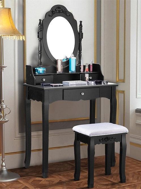 3 Drawer Mirror Makeup Dressing Table Stool Set  Dresser for Bedroom Set HW52950