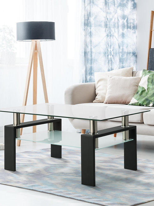 Double  Rectangle Glass Coffee Table Clear Home Furniture Side Table Coffee
