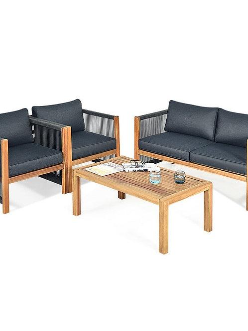 4Pcs Acacia Wood Outdoor Patio Furniture Set HW63868+