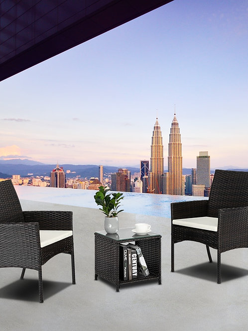 Comfortable Sofa Set PE Rattan and Iron Frame Brown Gradient Desk Tea Dinner