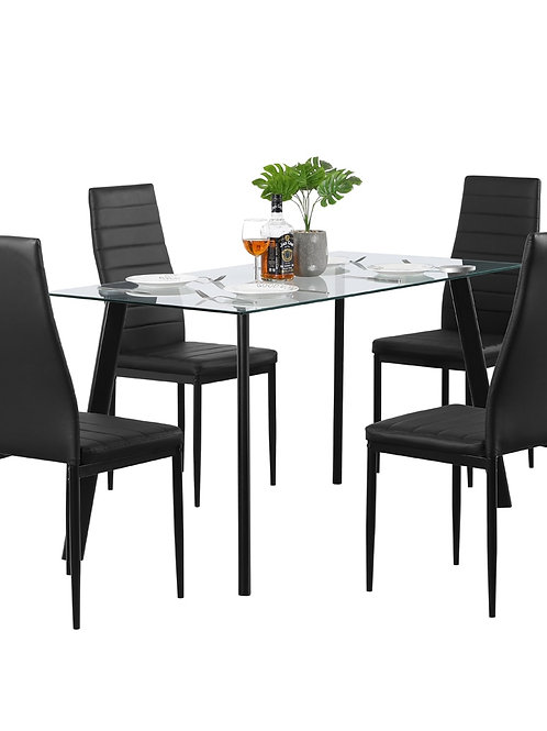 【US Warehouse】Hot 5 Piece Dining Table Set 4 Chairs Glass Metal Kitchen Rm Black