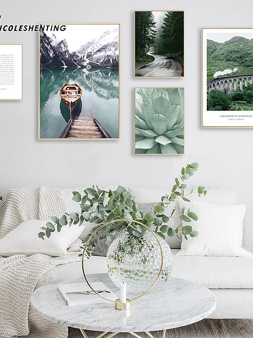 Scandinavian Boat Lake Canvas Poster Nature Nordic Style Landscape Wall Print