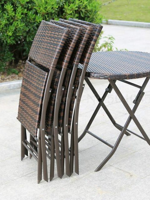 Outdoor Patio Open Air Coffee Table and Chair Fashion Furniture Rattan Folding