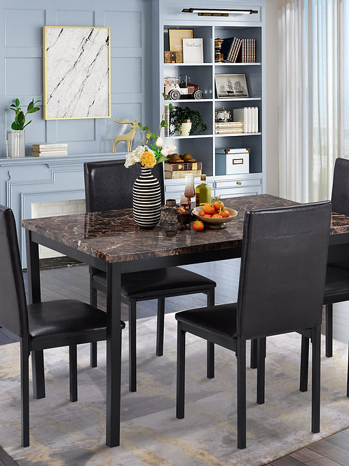 5Pcs Dining Room Set Furniture 4 Leather Chairs Dining Table Kitchen Furniture