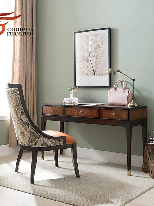 Study Room Furniture Study Desk and Chair Set of Soft Study Table Leather Chair