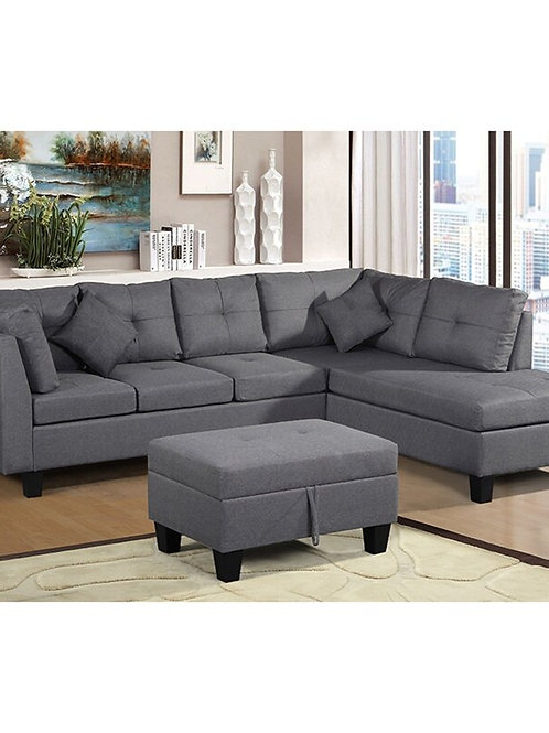 U-Style Upholstery Sectional Sofa With Storage Ottoman Living Room Furniture