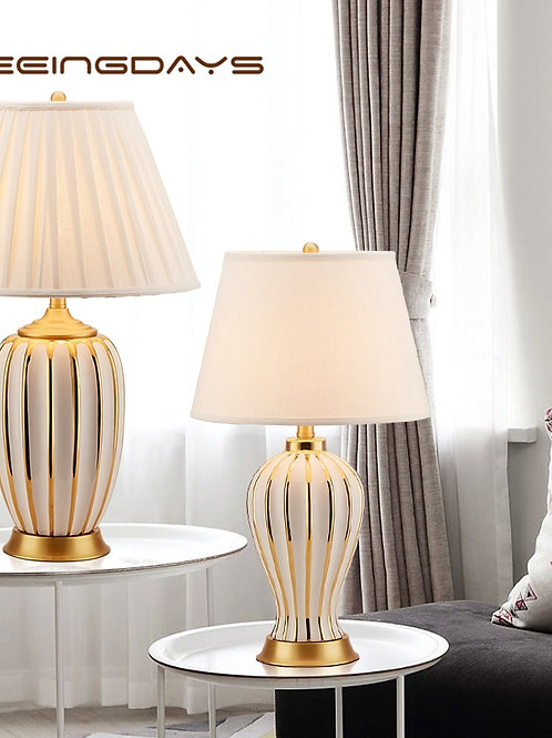 Light Luxury Post Modern American Style Ceramic Table Lamp for Bedroom Bedside