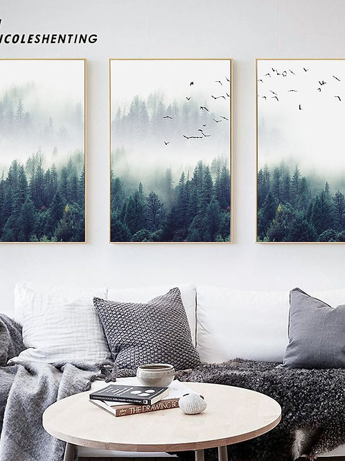 Nordic Decoration Forest Lanscape Wall Art Canvas Poster and  Canvas Painting