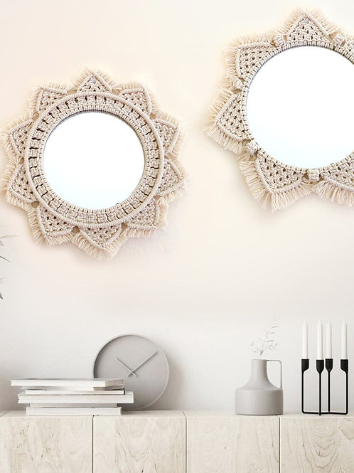 Macrame Wall Hanging Mirrors Ins Nordic Wall Mirrors Hand-Made Wall Tapestry Hom