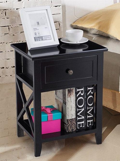 Modern Wooden Bedside Storage Nightstand With Shelf Bedroom Furniture HW56019