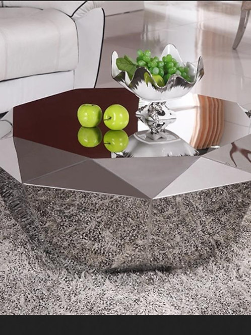 Luxury Stainless Steel Diamond Shape Center Coffee Table ,Polygonal Metal Mirror