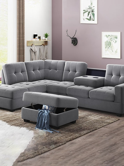 3 Pcs Sofa Set Reversible Sectional Sofa Sleeper With Storage Ottoman Cup Holder