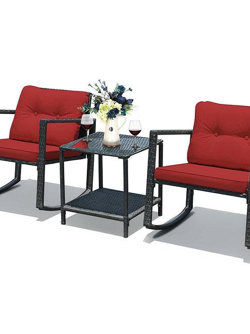 GIANTEX 3 Pcs Patio Rattan Set Rocking Chair Cushioned Sofa Garden HW62861color