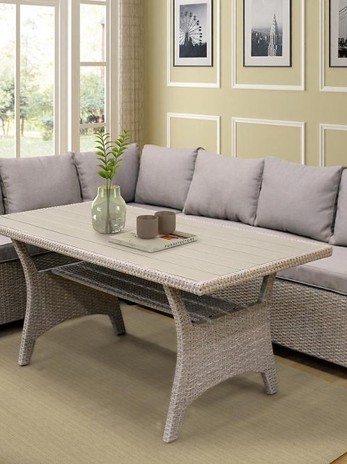 Rattan Wicker Dining Table Set Outdoor Patio  Set Sofa Table and Soft Cushions