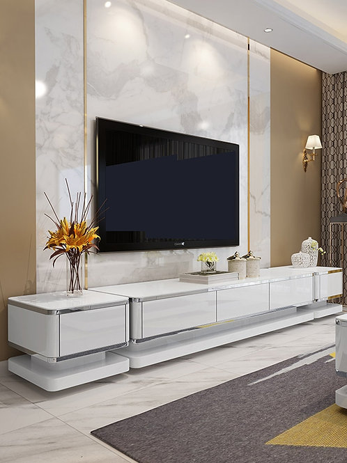TV Stand Coffee Table for Living Room, FStyle Tempering Glass Table Set Storage